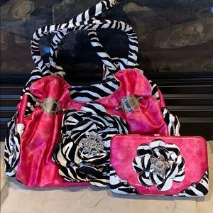 Pink and zebra purse and wallet set